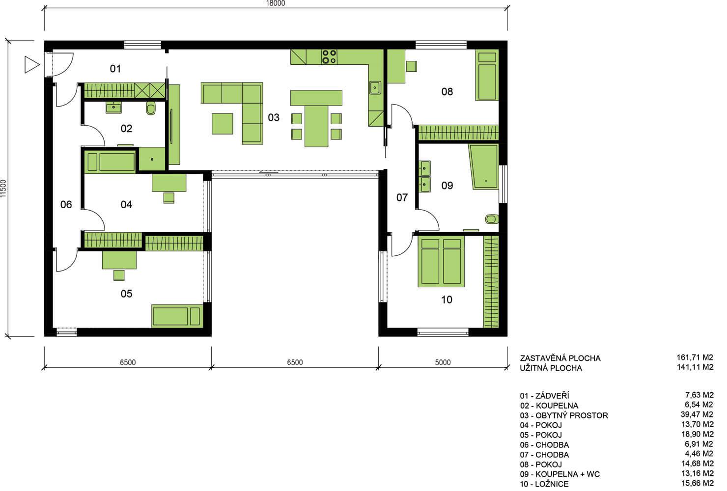 Schéma dřevostavby Moderní bungalov U139