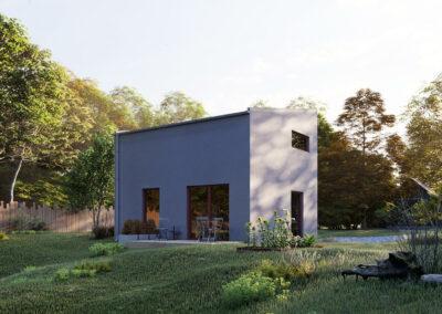 Dům TOP 01 pohled zezadu - dřevostavby Prefast vizualizace