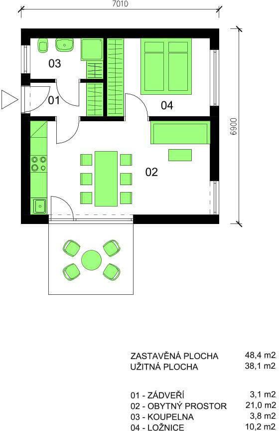 Schéma dřevostavby Bungalov B39