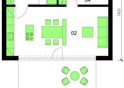Bungalov B52 schéma dřevostavby půdorys