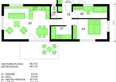 Bungalov B70-V2 schéma dřevostavby půdorys