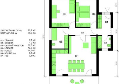 Bungalov B79 schéma dřevostavby půdorys