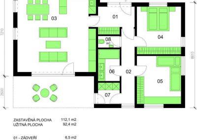 Bungalov B93 schéma dřevostavby půdorys