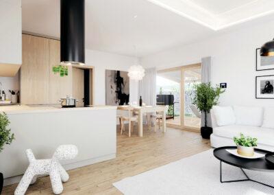 Interiér domu B70 - dřevostavba Prefast typu bungalov