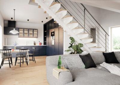 Interiér domu K100 - dřevostavba Prefast