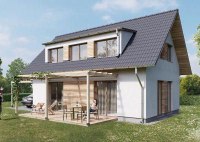 Klasický dům K100 dřevostavby Prefast vizualizace