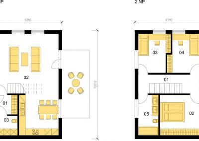Klasický dům K100 schéma dřevostavby půdorys