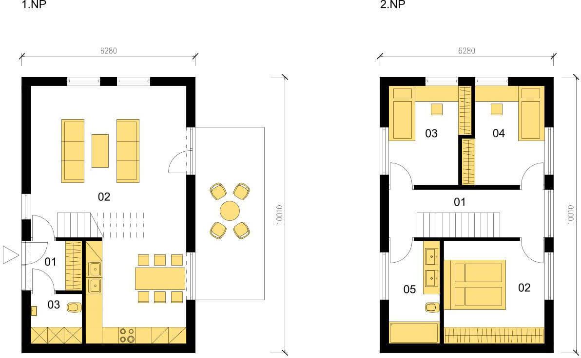 Schéma dřevostavby Klasický dům K100