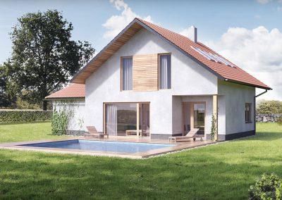Klasický dům K117 dřevostavby Prefast vizualizace