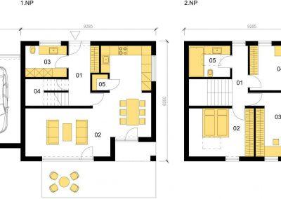 Klasický dům K117 schéma dřevostavby půdorys