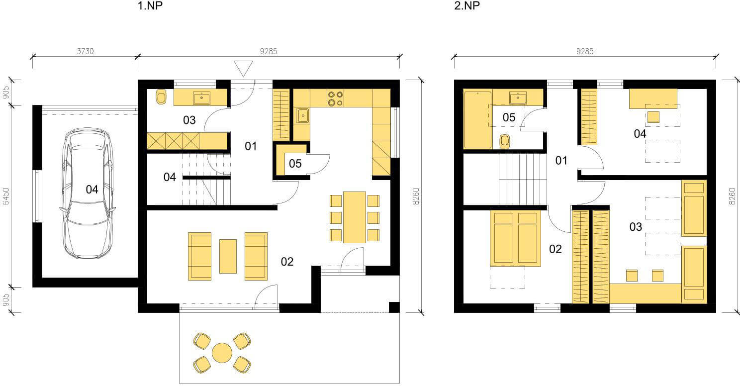 Schéma dřevostavby Klasický dům K117