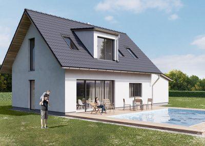 Klasický dům K126 dřevostavby Prefast vizualizace