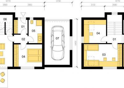 Klasický dům K126 schéma dřevostavby půdorys