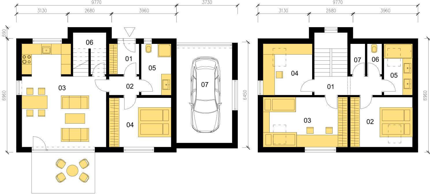 Schéma dřevostavby Klasický dům K126