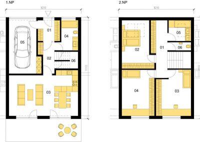 Klasický dům K146 schéma dřevostavby půdorys