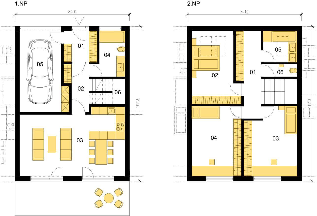 Schéma dřevostavby Klasický dům K146