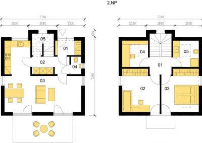 Klasický dům K88 schéma dřevostavby půdorys