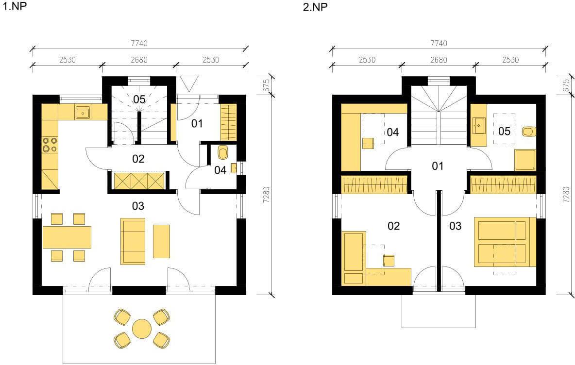 Schéma dřevostavby Klasický dům K88
