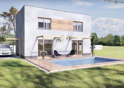 Moderní dům M102 dřevostavby Prefast vizualizace