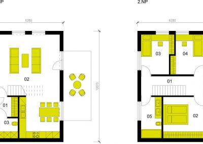 Moderní dům M102 schéma dřevostavby půdorys