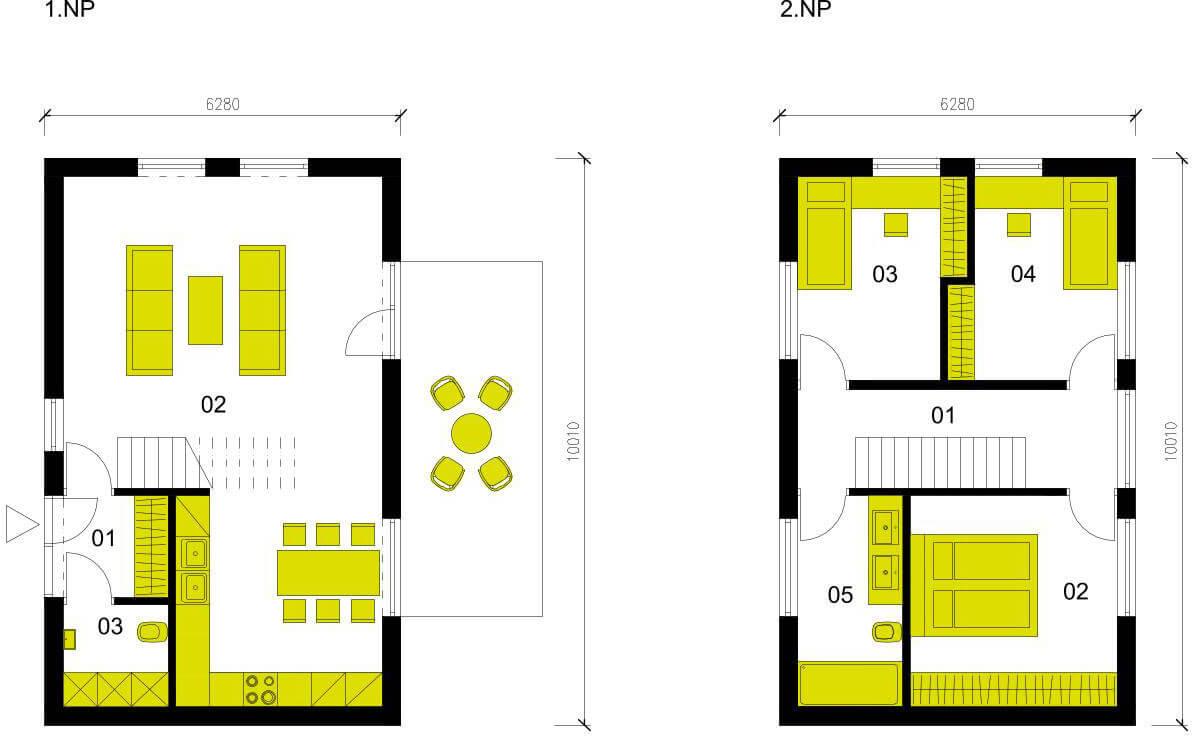 Schéma dřevostavby Moderní dům M102