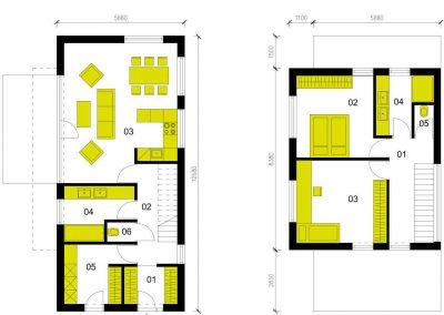Moderní dům M103 schéma dřevostavby půdorys