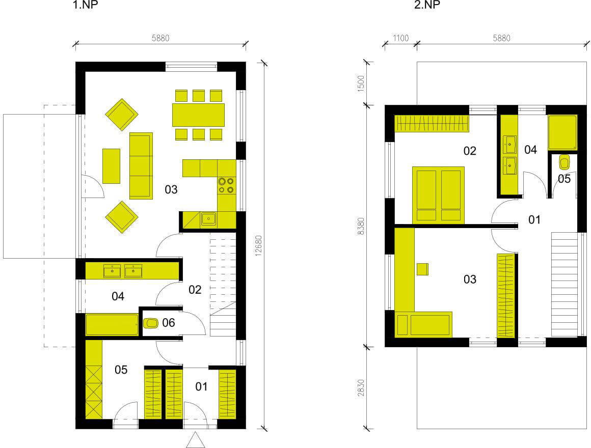 Schéma dřevostavby Moderní dům M103