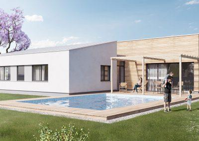 Moderní dům M136 dřevostavby Prefast vizualizace