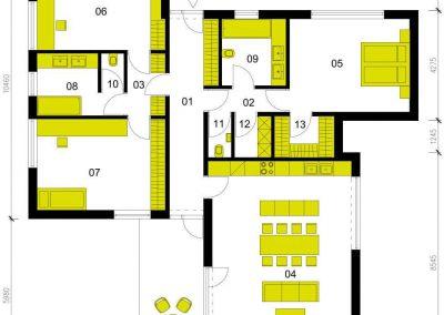 Moderní dům M136 schéma dřevostavby půdorys