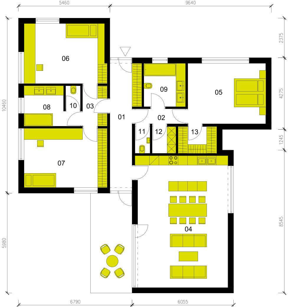 Schéma dřevostavby Moderní dům M136