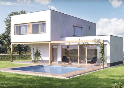 Moderní dům M145 dřevostavby Prefast vizualizace