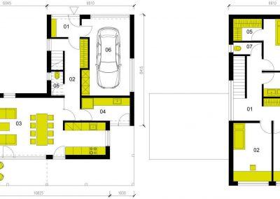 Moderní dům M145 schéma dřevostavby půdorys