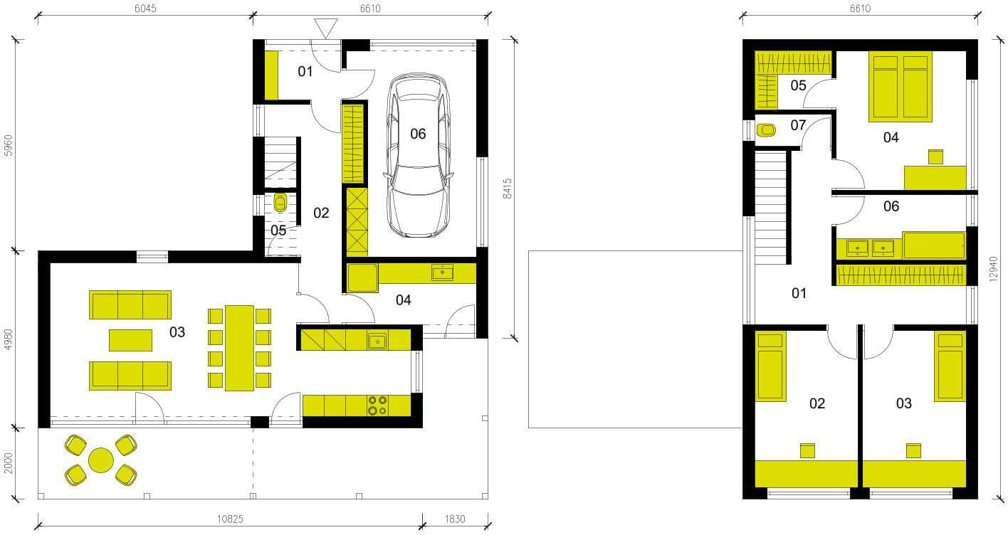 Schéma dřevostavby Moderní dům M145