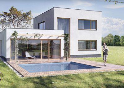 Moderní dům M152 dřevostavby Prefast vizualizace