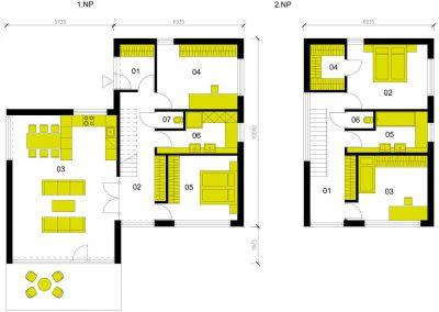 Moderní dům M152 schéma dřevostavby půdorys