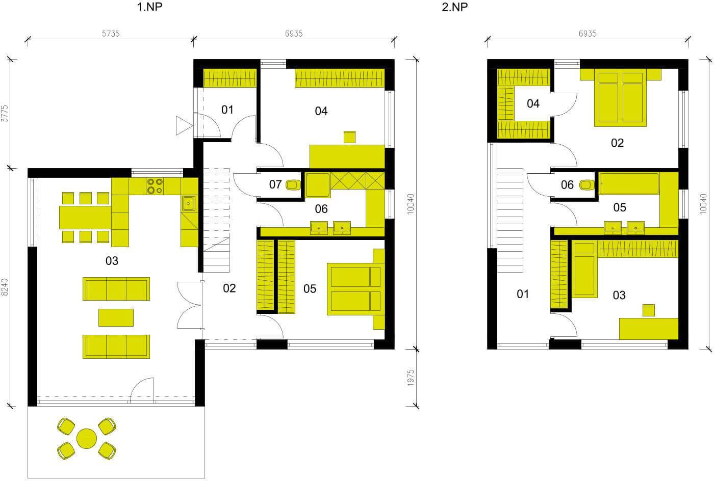 Schéma dřevostavby Moderní dům M152