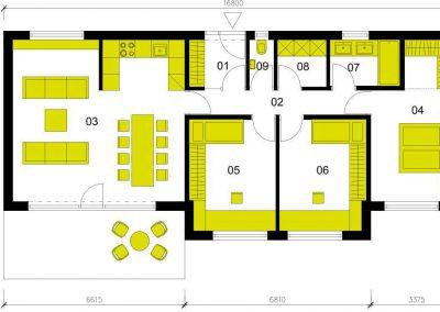 Moderní dům M98 schéma dřevostavby půdorys