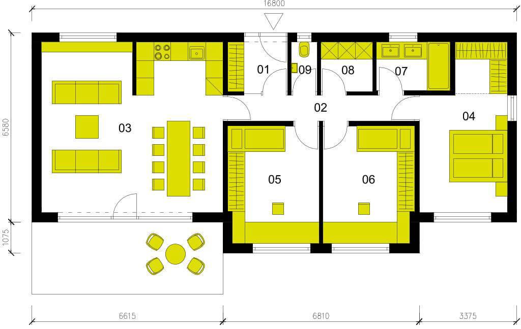 Schéma dřevostavby Moderní dům M98
